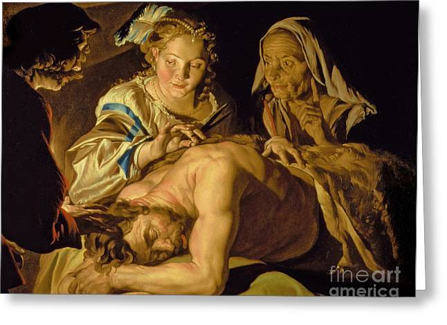 Samson And Delilah Greeting Card by Matthias Stomer