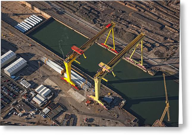Samson And Goliath, Belfast Greeting Card by Colin Bailie