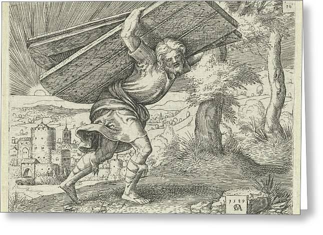 Samson Carrying The Gates Of Gaza, Print Maker Cornelis Greeting Card