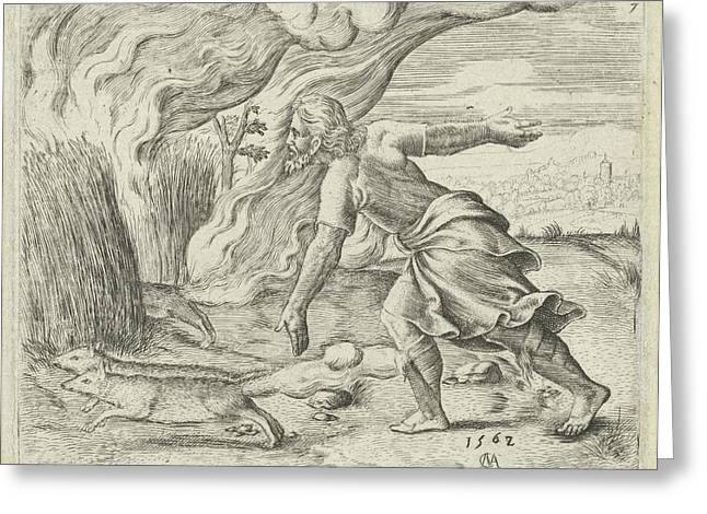 Samson Puts The Wheat Fields Of The Philistines In Fire Greeting Card by Cornelis Massijs