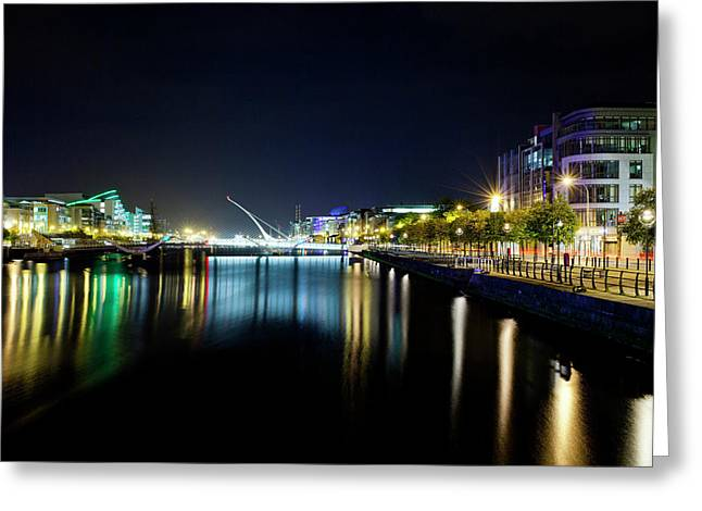 Samuel Beckett Bridge At Night, Liffey Greeting Card by Panoramic Images