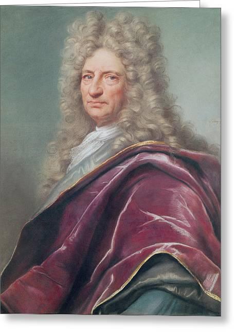 Samuel Bernard, Comte De Coubert, 1699 Pastel On Paper Greeting Card