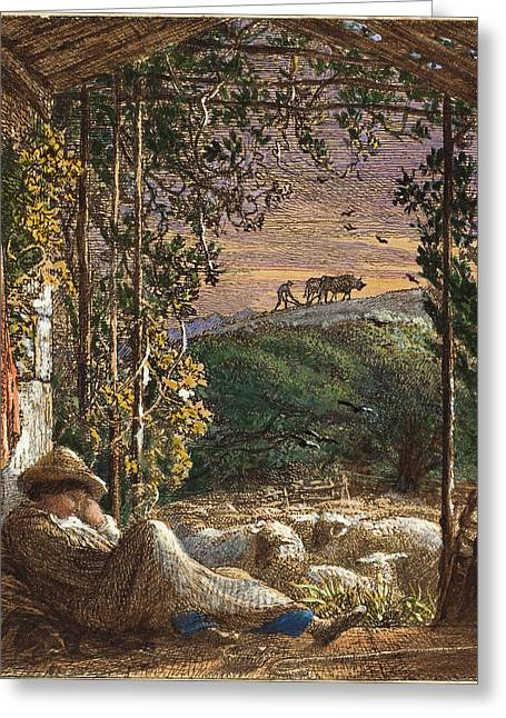 Samuel Palmer, British 1805-1881, The Sleeping Shepherd Greeting Card by Litz Collection