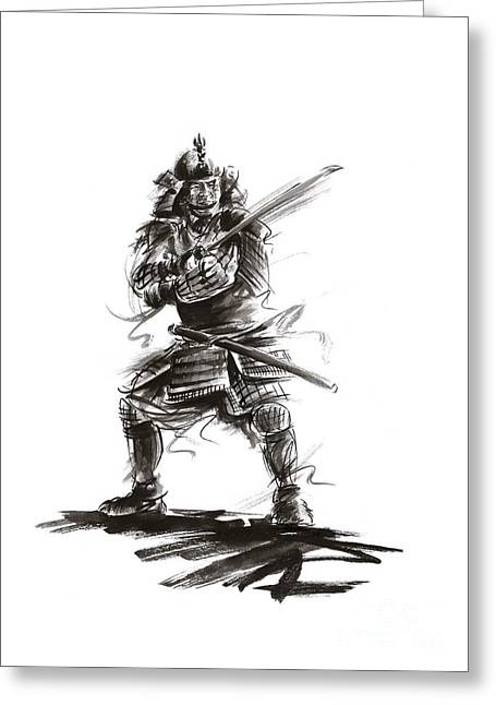 Samurai Complete Armor Warrior Steel Silver Plate Japanese Painting Watercolor Ink G Greeting Card