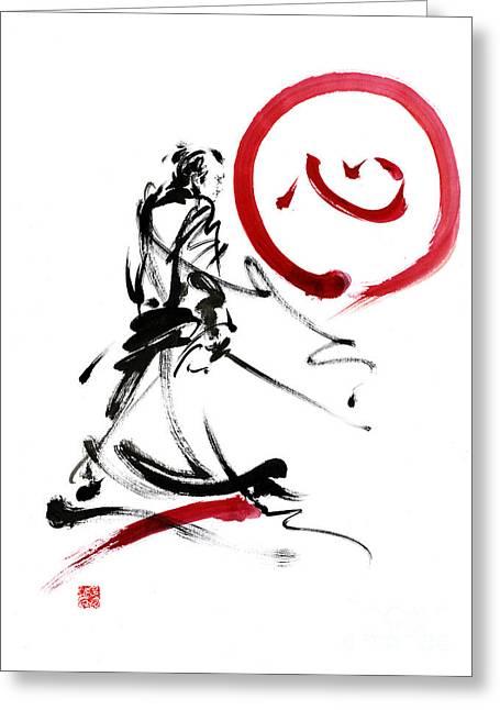 Samurai Enso Circle Wild Fury Bushi Bushido Martial Arts Sumi-e  Greeting Card by Mariusz Szmerdt