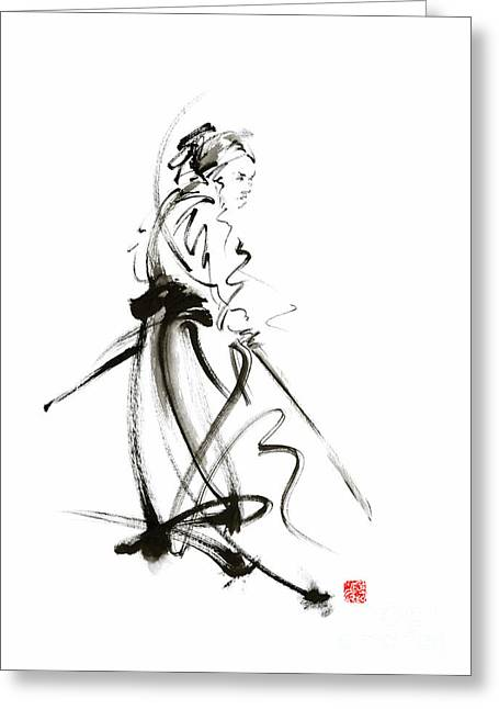 Samurai Sword Bushido Katana Martial Arts Sumi-e Original Ink Painting Artwork Greeting Card