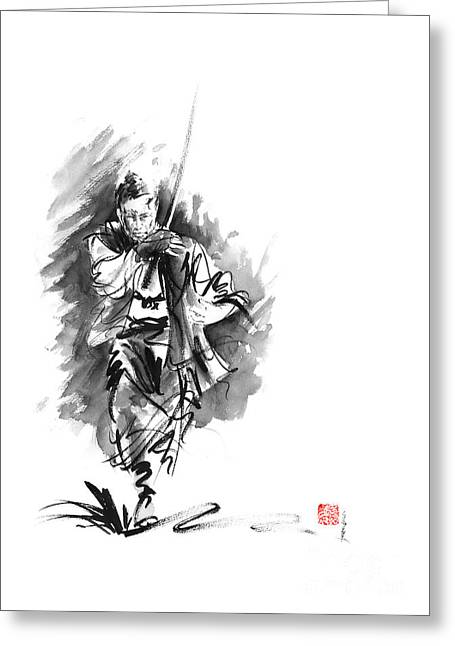 Samurai Sword Bushido Katana Martial Arts Sumi-e Original Running Run Man Design Ronin Ink Painting  Greeting Card