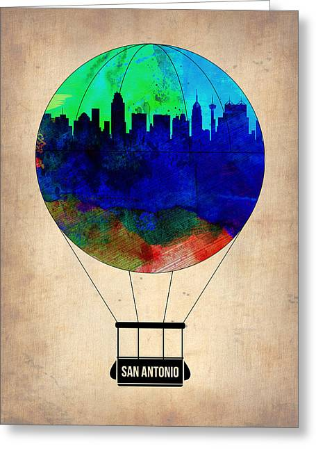 San Antonio Air Balloon Greeting Card by Naxart Studio