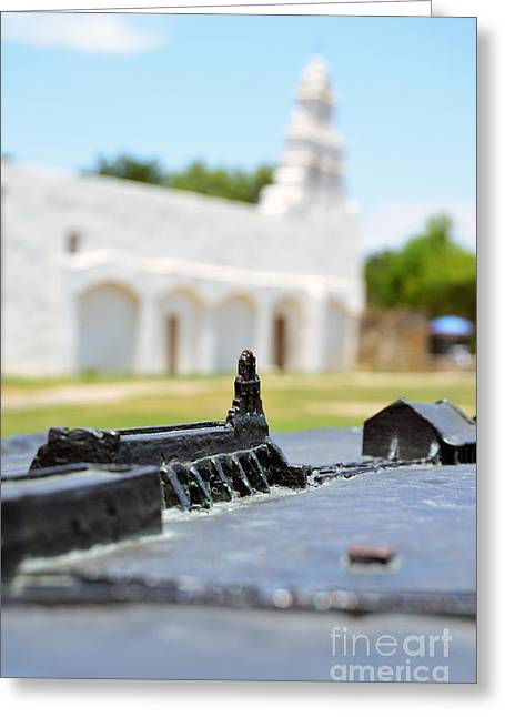San Antonio Missions National Historical Park Mission San Juan Exterior And Bronze Diorama Greeting Card by Shawn O'Brien
