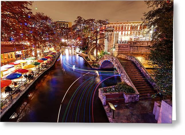 San Antonio Riverwalk And Christmas Lights - San Antonio Texas Greeting Card