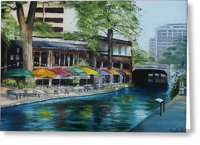 San Antonio Riverwalk Cafe Greeting Card by Stefon Marc Brown
