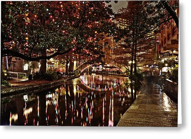 San Antonio Riverwalk Decorated With Shiny Lights At Night Refle Greeting Card by Alan Tonnesen