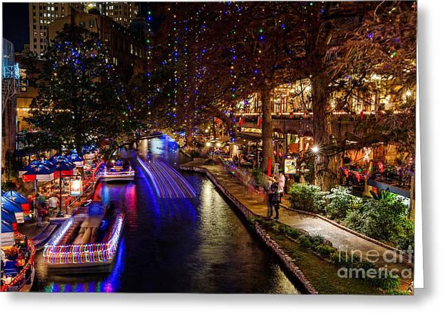 San Antonio Riverwalk During Christmas Greeting Card