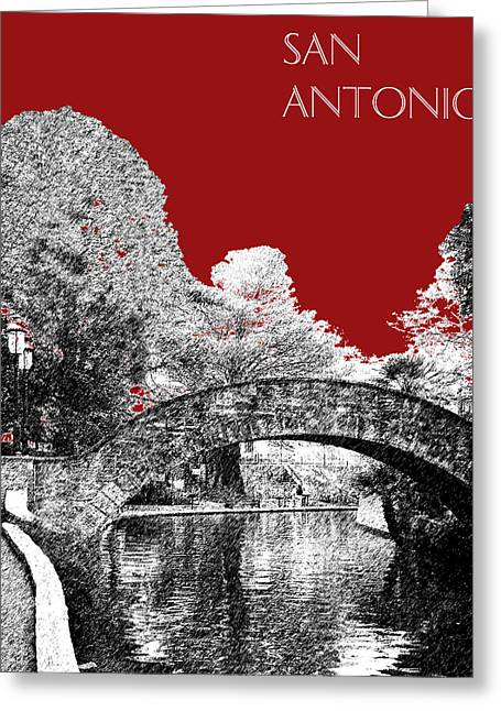 San Antonio Skyline River Walk - Dark Red Greeting Card by DB Artist