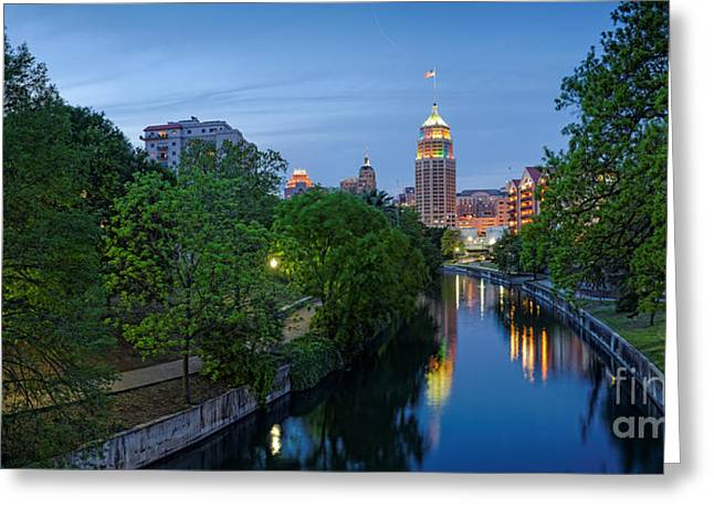 San Antonio Skyline Tower Life Building And Riverwalk From Cesar Chavez Boulevard - Texas Greeting Card