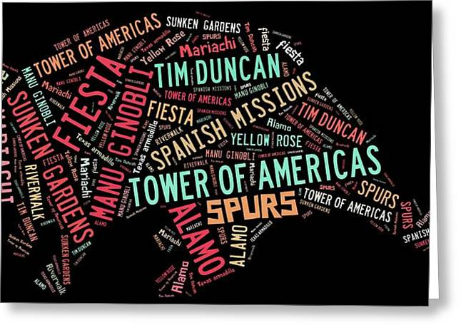 San Antonio Text Art Greeting Card by Linda Brown