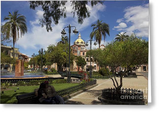 San Blas Park  Cuenca Ecuador Greeting Card by Al Bourassa