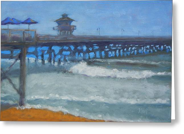 San Clemente Pier Greeting Card by Kent Pace
