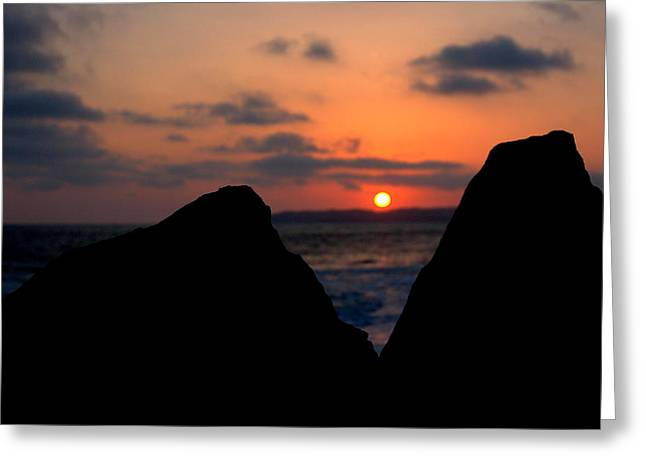 Greeting Card featuring the photograph San Clemente Rocks Sunset by Matt Harang
