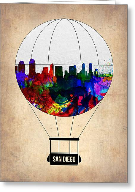 San Diego Air Balloon Greeting Card by Naxart Studio