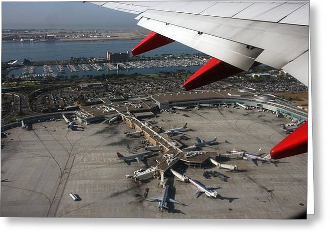 Greeting Card featuring the photograph San Diego Airport Plane Wheel by Nathan Rupert