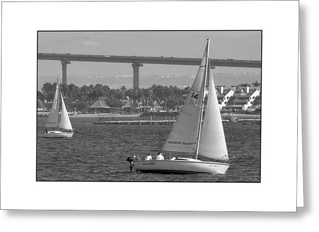 Greeting Card featuring the digital art San Diego Bay Sailing 1 by Kirt Tisdale