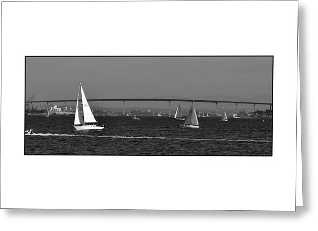 Greeting Card featuring the digital art San Diego Bay Sailing 2 by Kirt Tisdale