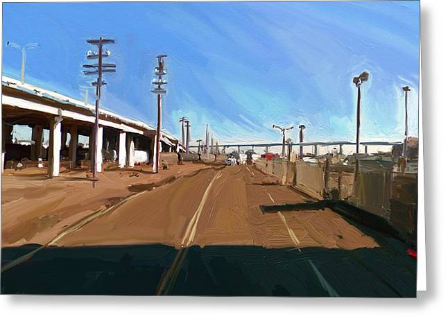 Greeting Card featuring the painting San Diego California Usa by Nop Briex