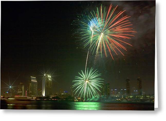San Diego Cityscape Fireworks Greeting Card