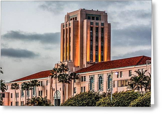 Greeting Card featuring the digital art San Diego County Administration Center by Photographic Art by Russel Ray Photos