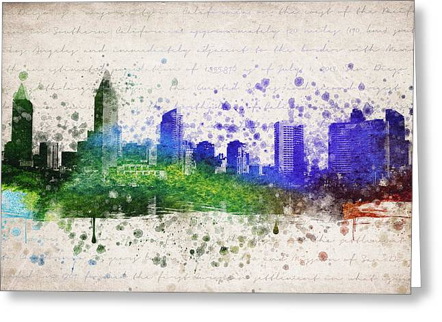 San Diego In Color Greeting Card by Aged Pixel