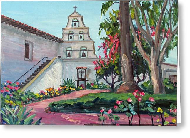 San Diego Mission Garden In Spring Greeting Card by Robert Gerdes