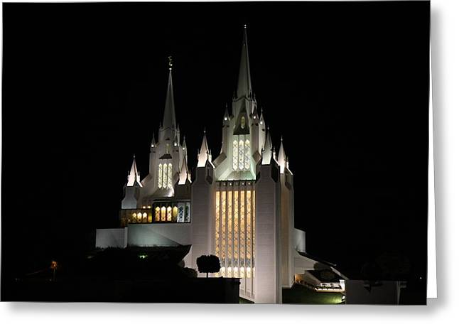 San Diego Mormon Temple At Night Greeting Card