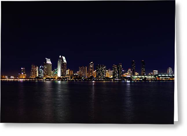 San Diego Night Lights Greeting Card