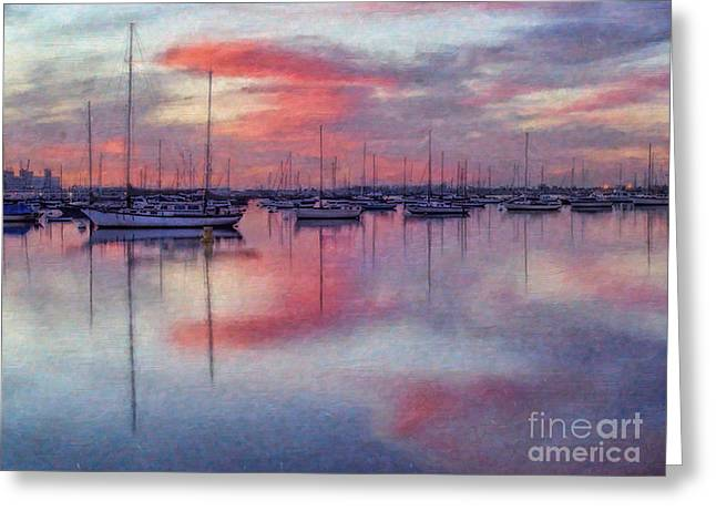 San Diego - Sailboats At Sunrise Greeting Card by Lianne Schneider