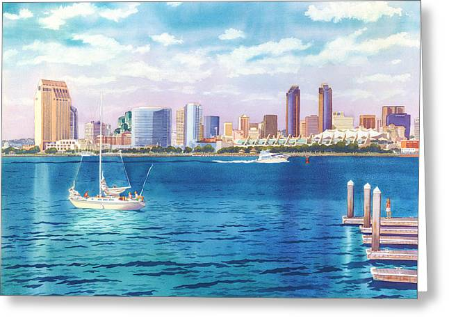 San Diego Skyline And Convention Ctr Greeting Card