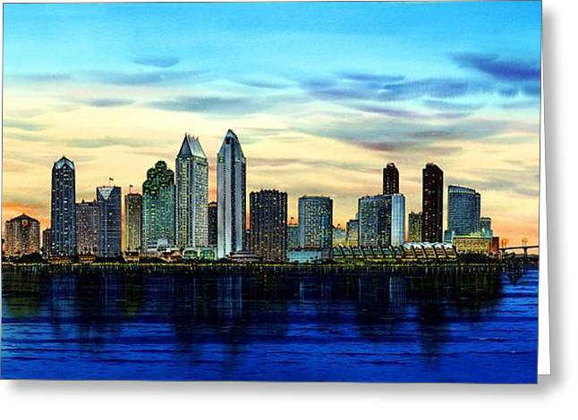 San Diego Skyline And Coronado At Dusk U.s.a Greeting Card
