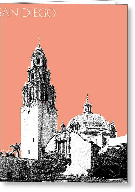 San Diego Skyline Balboa Park - Salmon Greeting Card by DB Artist