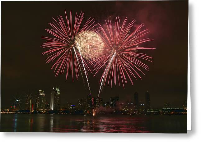 San Diego Skyline Fireworks Greeting Card
