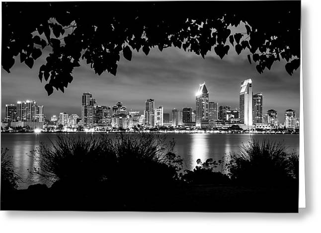 San Diego Skyline Framed 2 Black And White Greeting Card