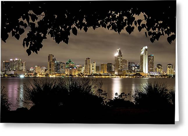 San Diego Skyline Framed 2 Greeting Card