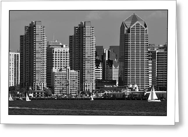 Greeting Card featuring the digital art San Diego Skyline by Kirt Tisdale