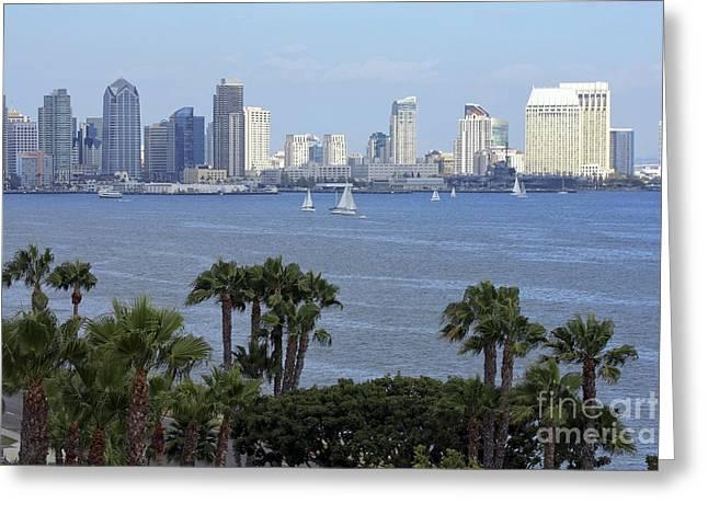 San Diego Skyline Greeting Card by Sophie Vigneault