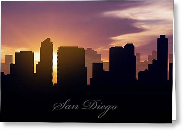 San Diego Sunset Greeting Card by Aged Pixel