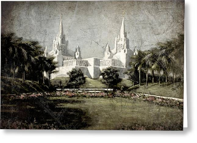 San Diego Temple Antique Greeting Card