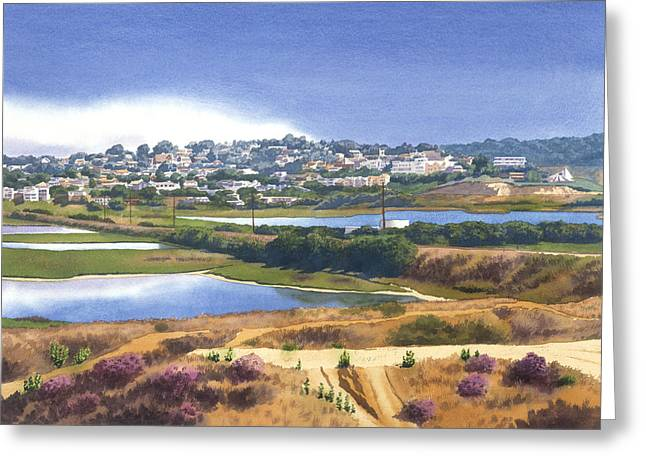 San Elijo And Manchester Ave Greeting Card by Mary Helmreich