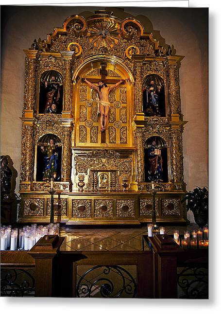 Greeting Card featuring the photograph San Fernando Cathedral Altar by Andy Crawford