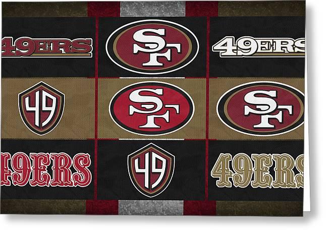 San Francisco 49ers Uniform Patches Greeting Card by Joe Hamilton