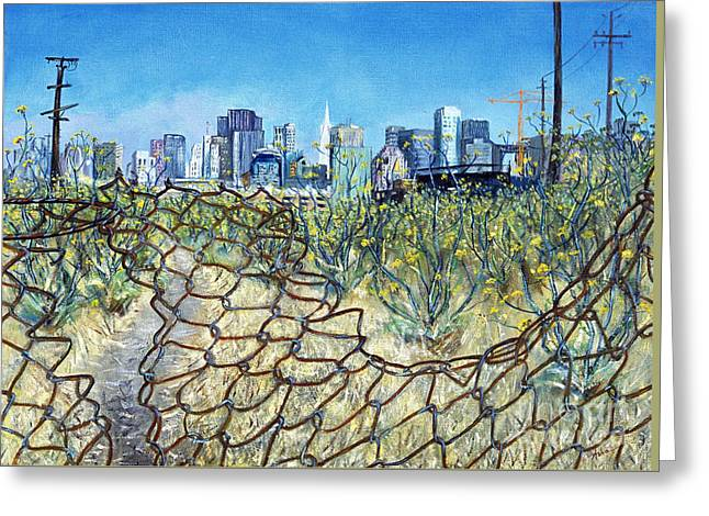 Greeting Card featuring the painting San Francisco And Flowery Vagabond Path Of Yesterday by Asha Carolyn Young