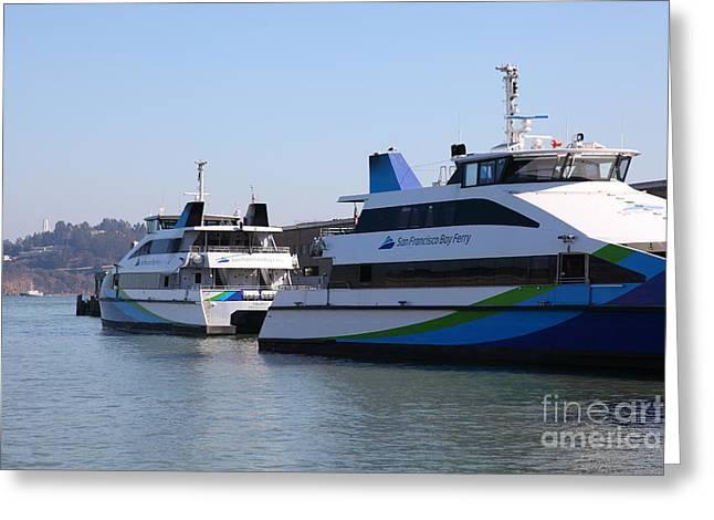 San Francisco Bay Ferry Boat At Pier 39 San Francisco California 5d25932 Greeting Card